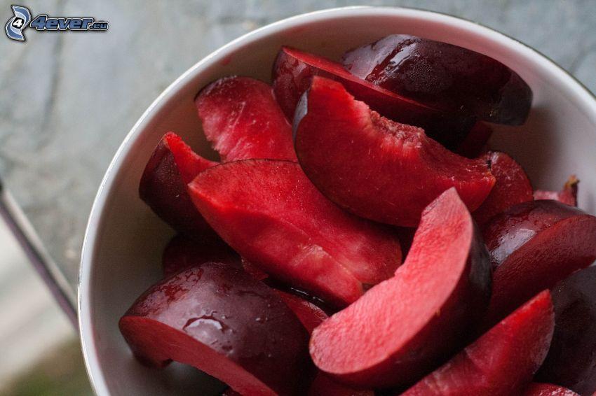 plums, bowl