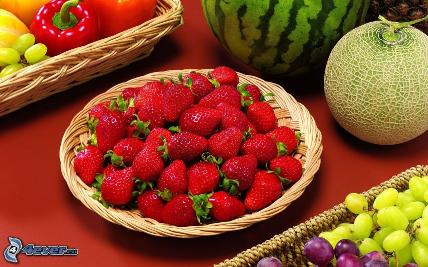strawberries, melons, grapes