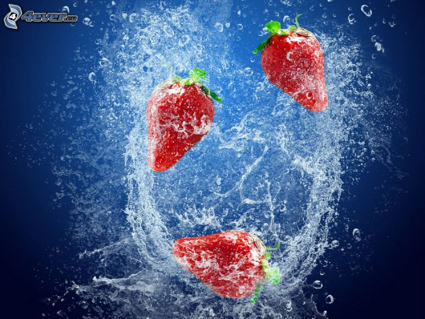 strawberries, water