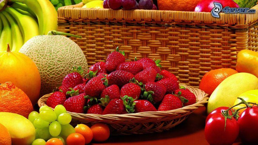 strawberries in basket, melon, grapes, bananas, tomatoes