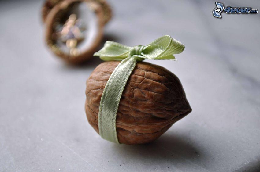 walnuts, gift, ribbon