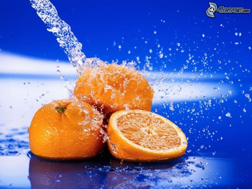 oranges, stream of water, splash