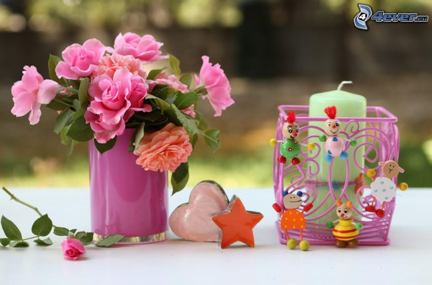 pink roses, candlestick, candle