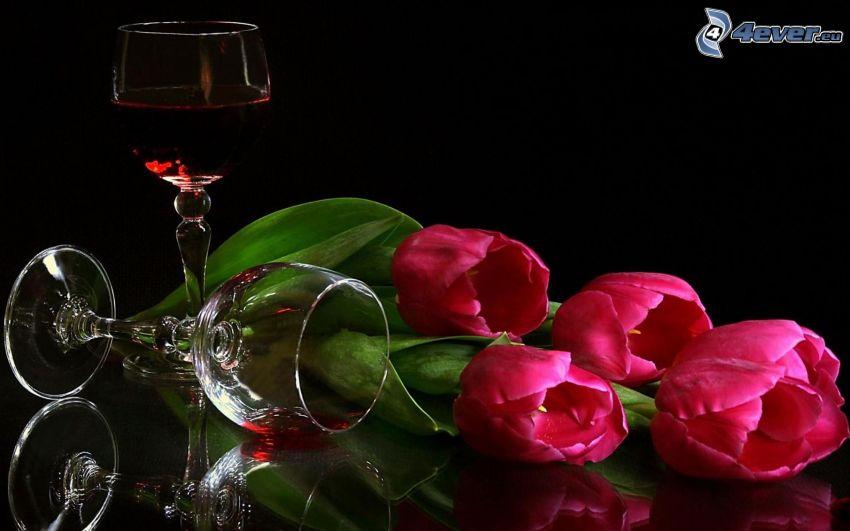 pink tulips, glasses, wine
