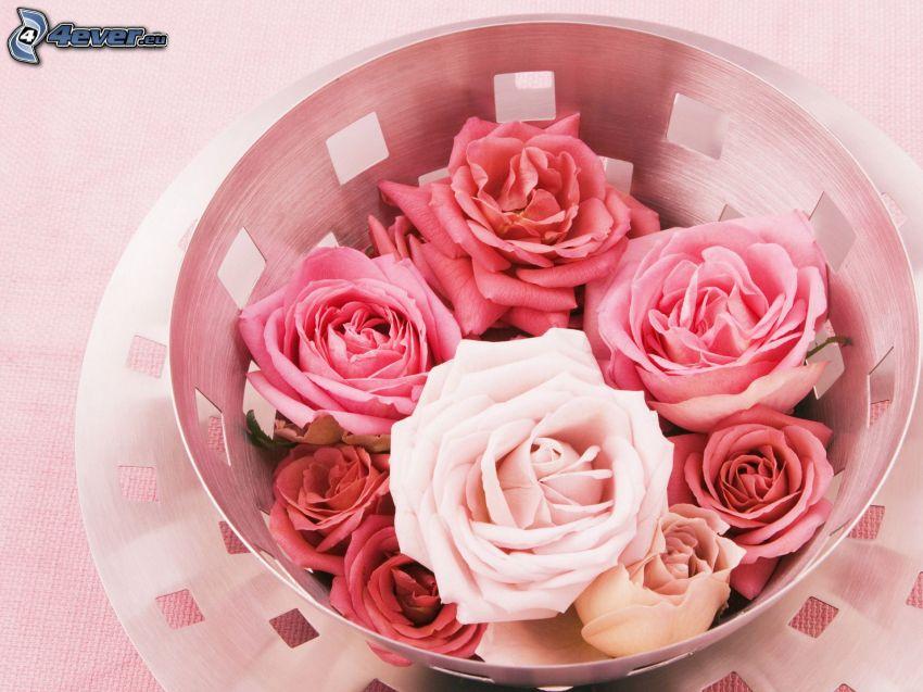 roses, bowl