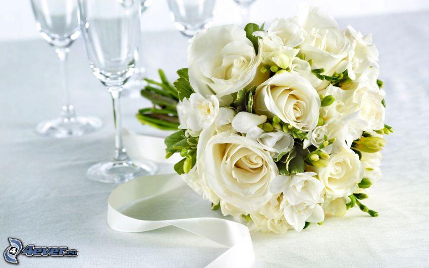 wedding bouquet, white roses, glasses
