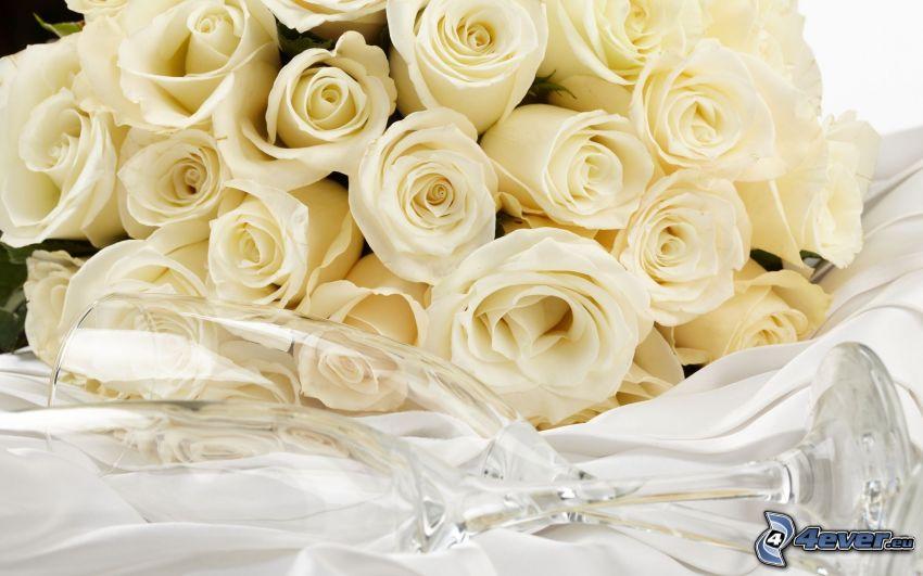 white roses, glasses