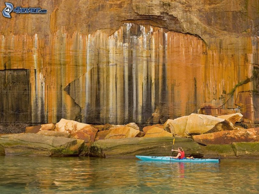 rafting, rock, boat