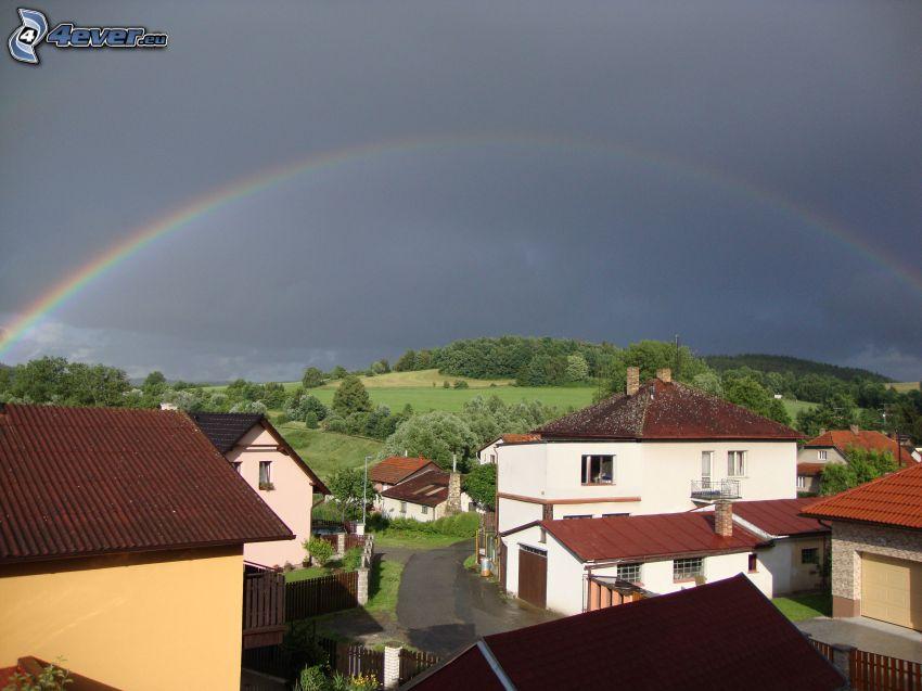 rainbow, village, sky, hill