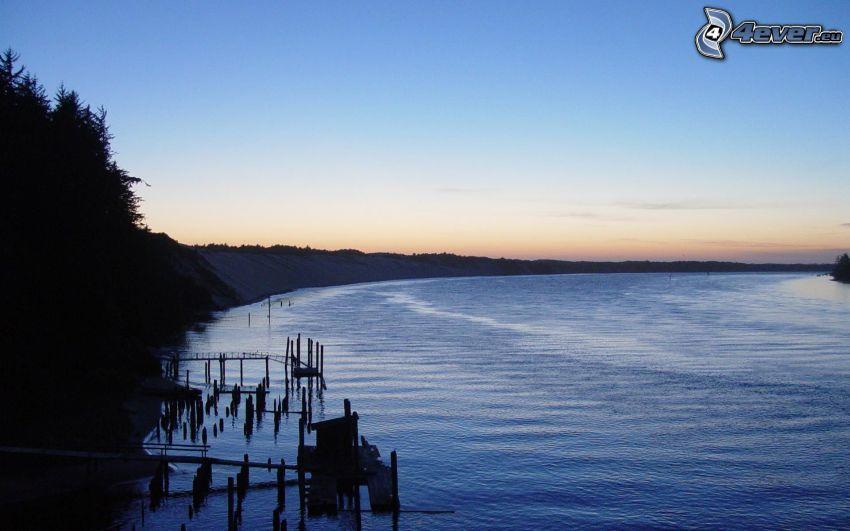 River, evening sky
