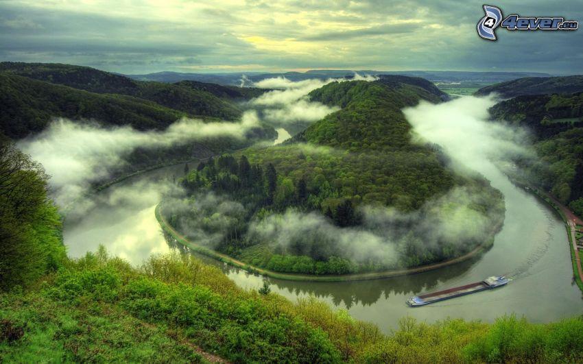 River, ship, clouds