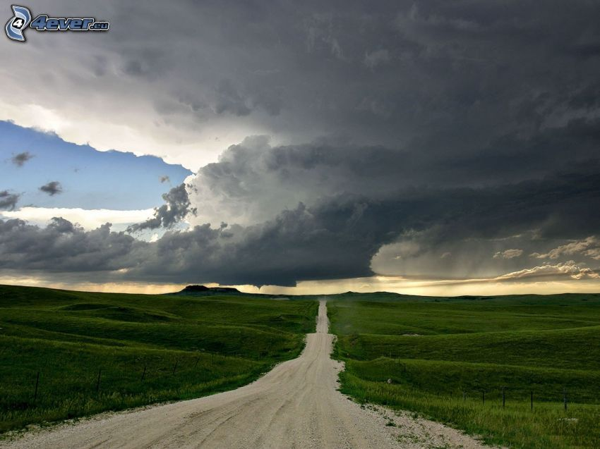 road, field, storm clouds