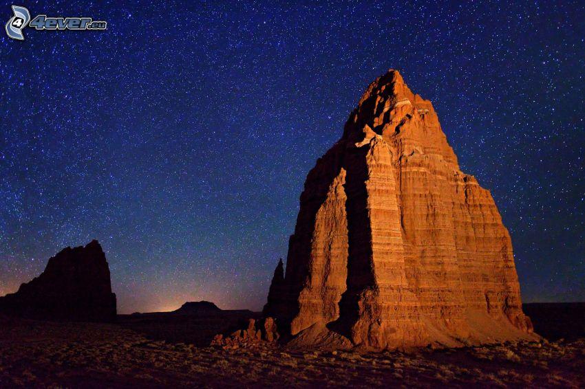 rock, starry sky
