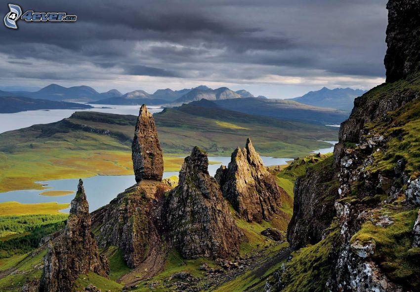 rocks, mountain lake