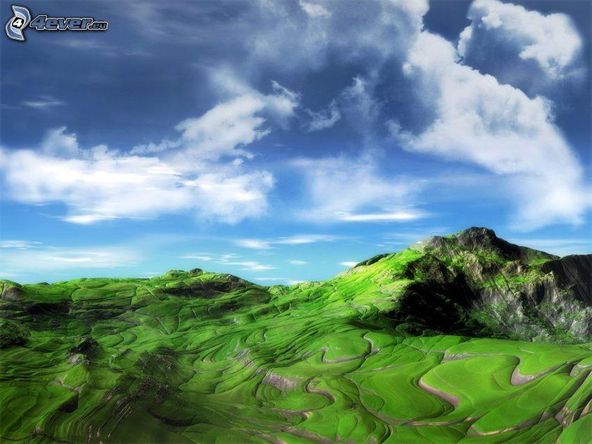 rocky hill, clouds