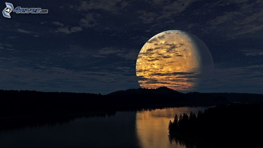 sci-fi landscape, moon, silhouette of a forest, River, night