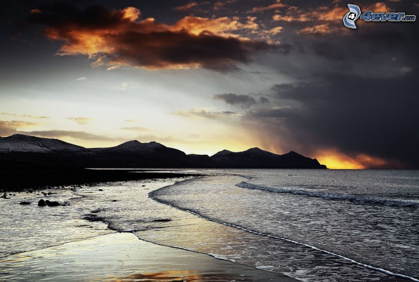 sea, coast, mountain, sky