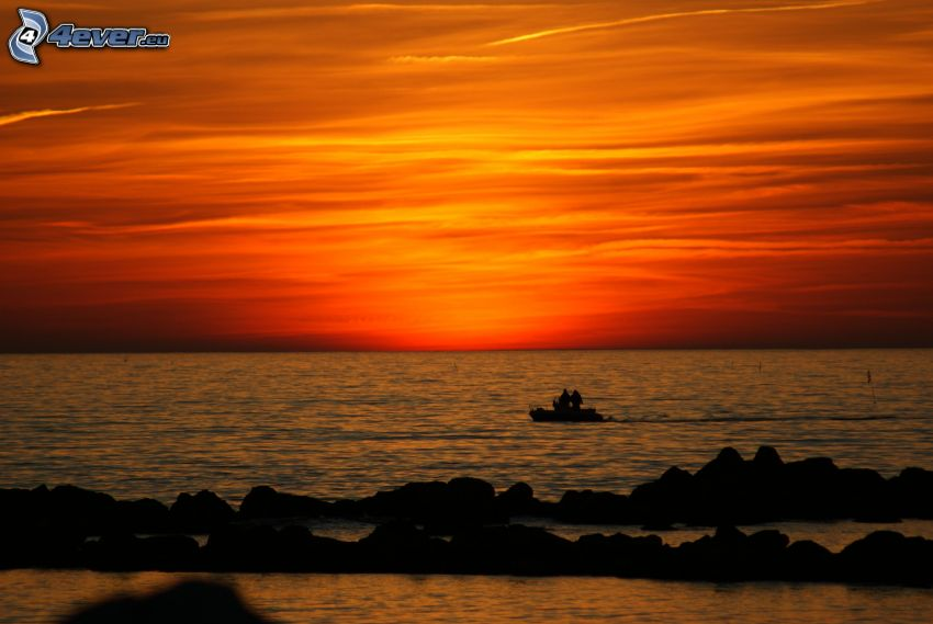 after sunset, orange sky, sea, boat