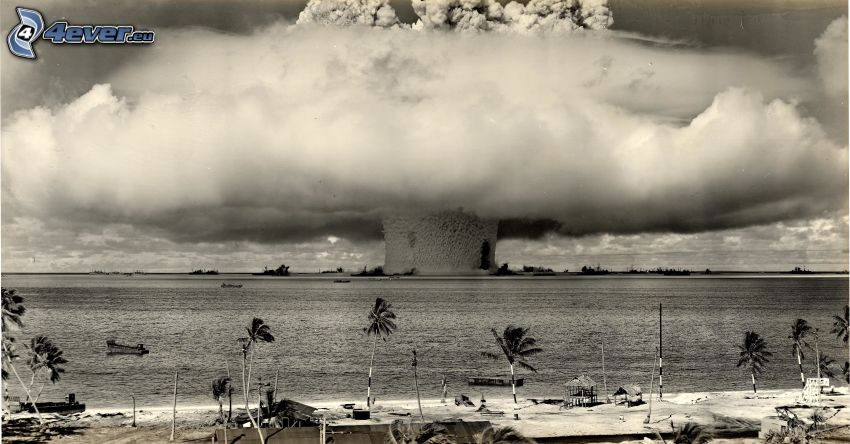 atomic explosion, black and white photo