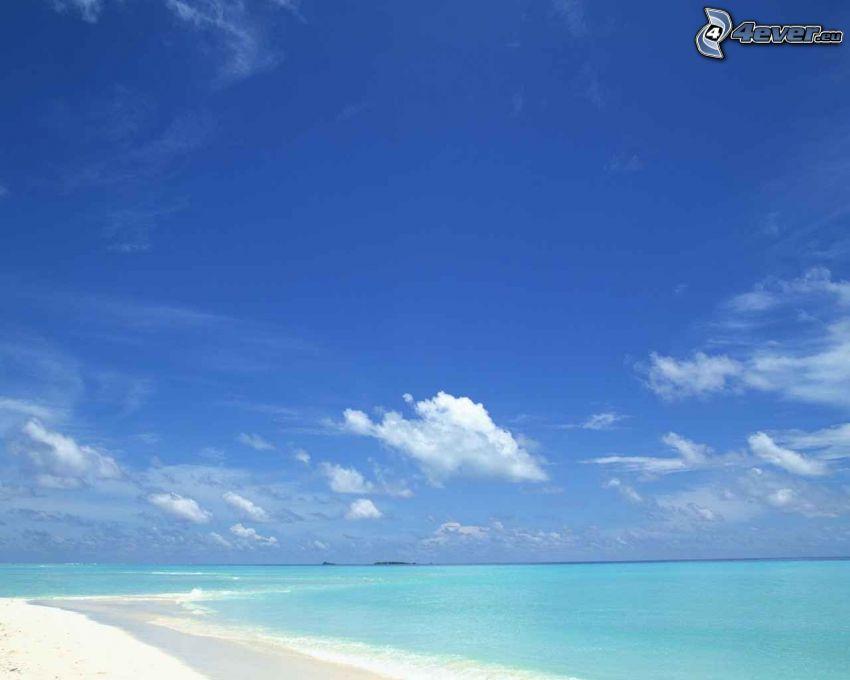 azure sea, clear sky, sandy beach