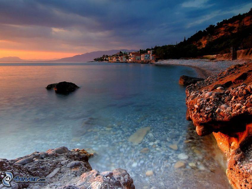 beach, seaside town, sea