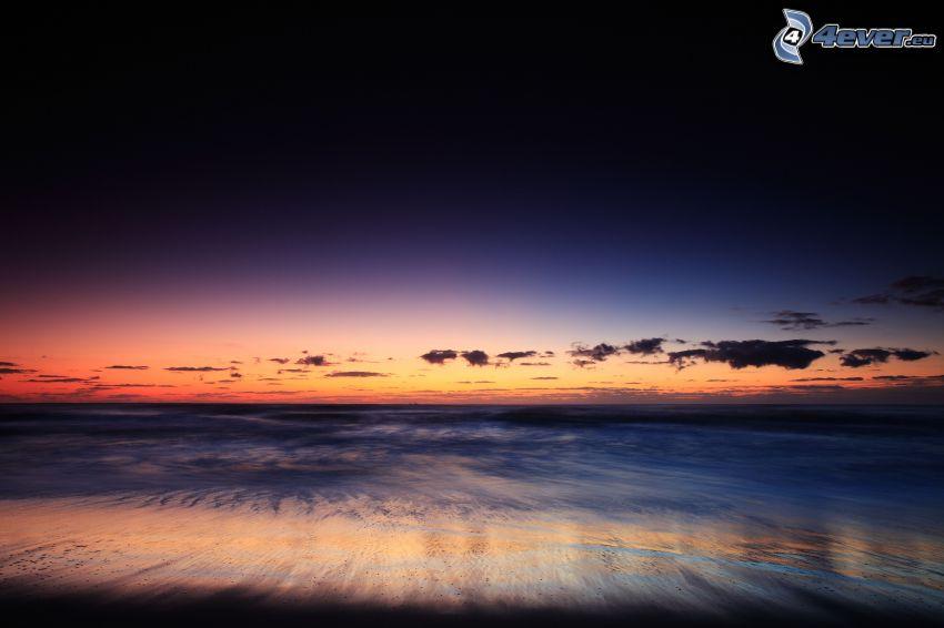beach after sunset, sea, evening sky