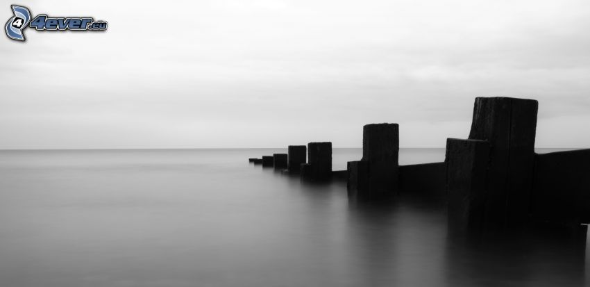blocks, sea, black and white