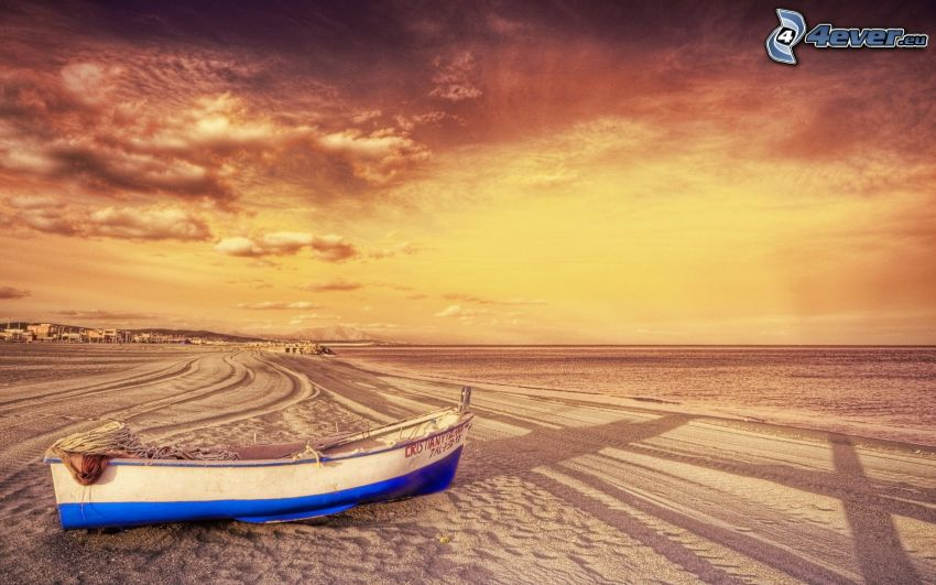 boat, sandy beach