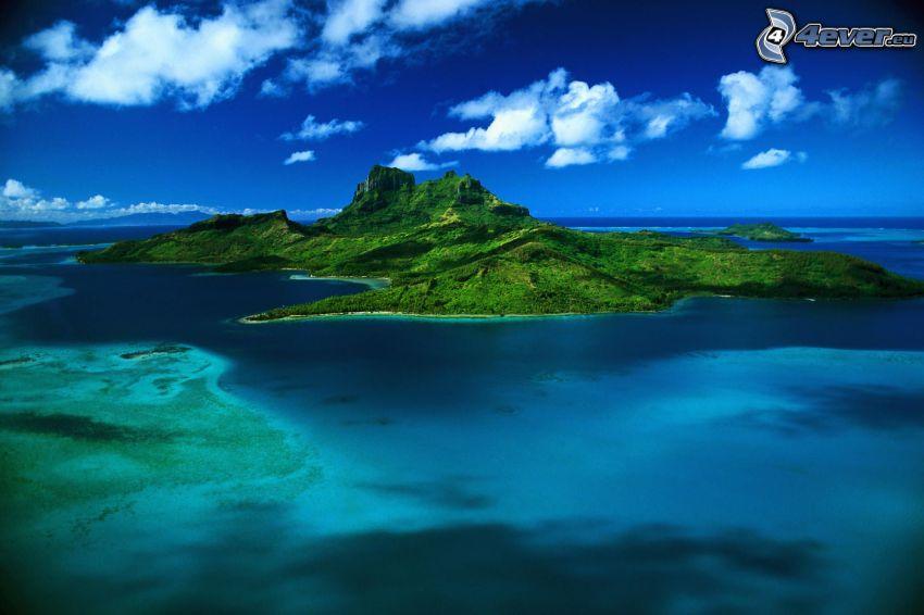 Bora Bora, French Polynesia, island, azure sea, ocean, Pacific Ocean, aerial view