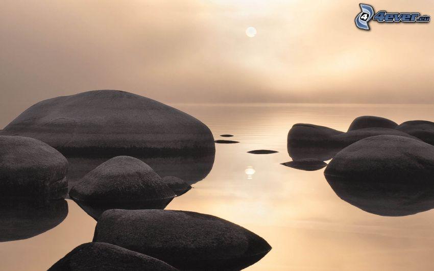 boulders, sea
