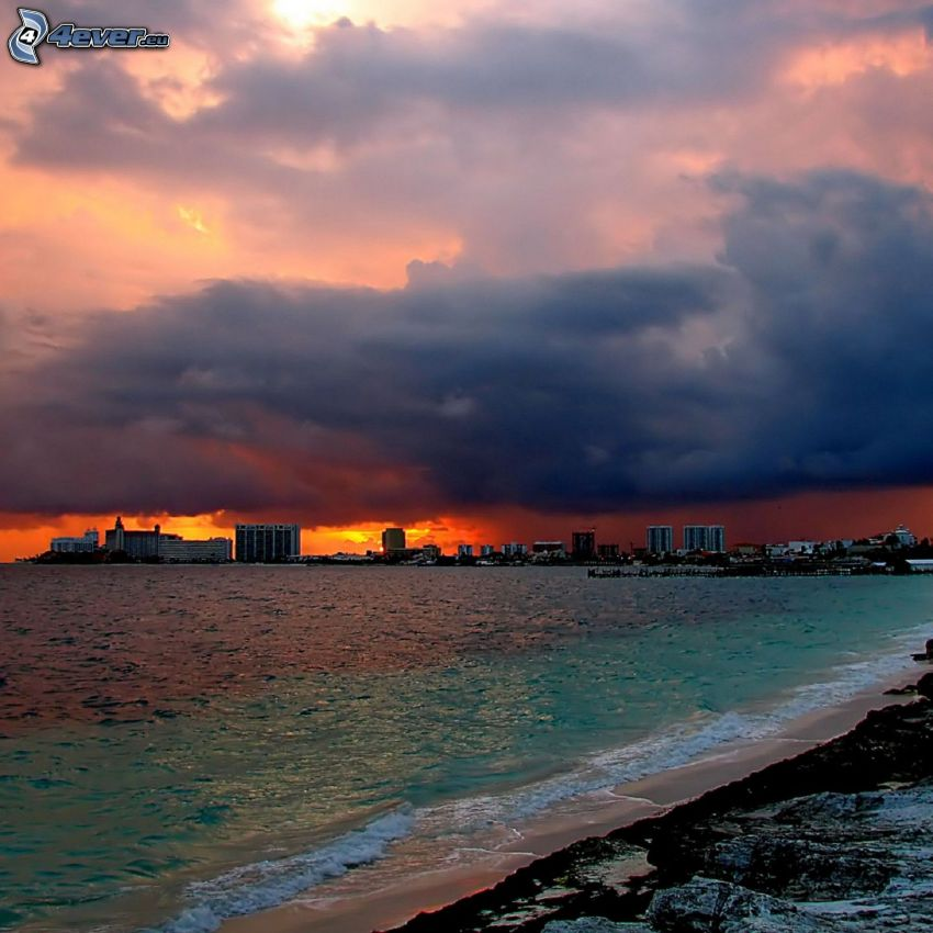 coast, city, sea, clouds, orange sky