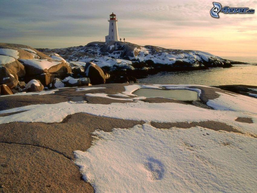 coast, lighthouse, snow