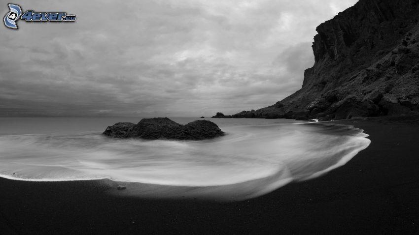 coast, rocks, sea, black and white