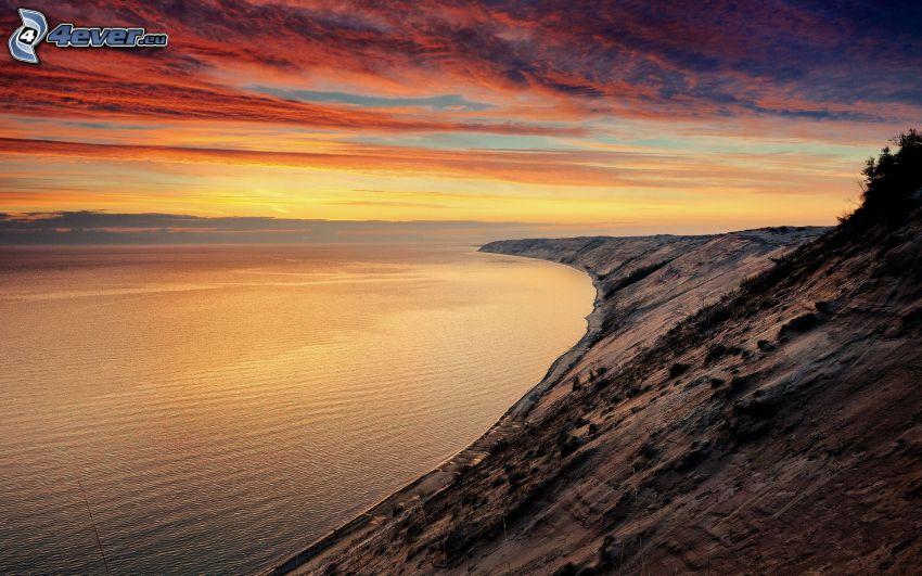 coast, sea, evening sky
