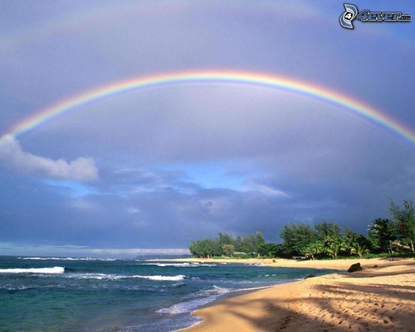 coast, sea, rainbow