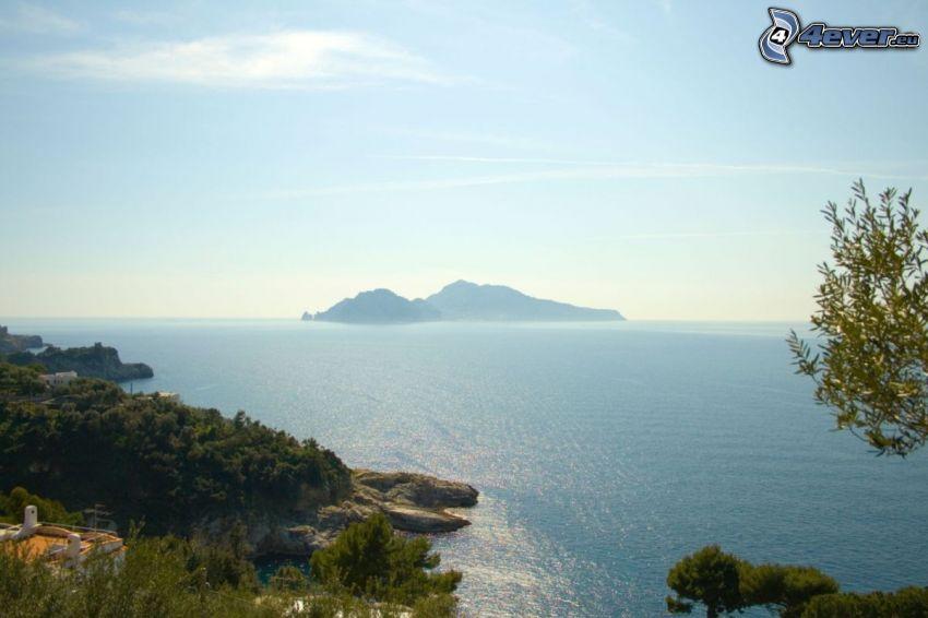 coast, sea, rocky island