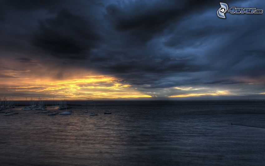 dark clouds over the sea, marinas, storm