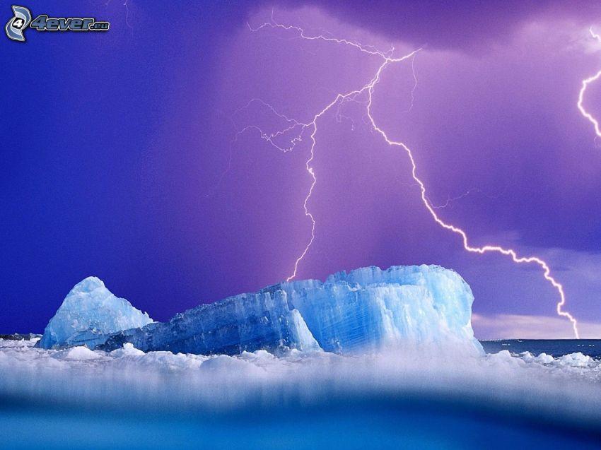 glacier, lightning