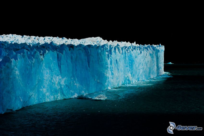 glacier, sea, night