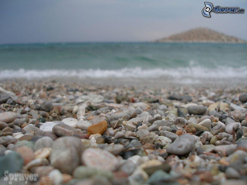 gravel, sea, beach