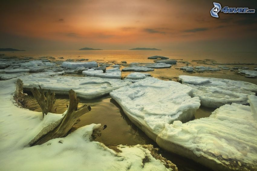 ice floe, sea, after sunset