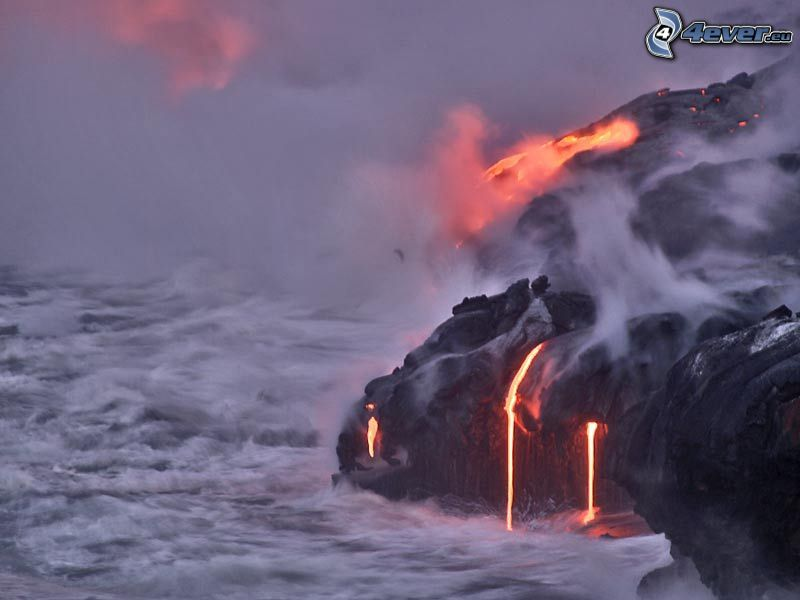 Isla Grande, Hawaii, lava, sea, steam