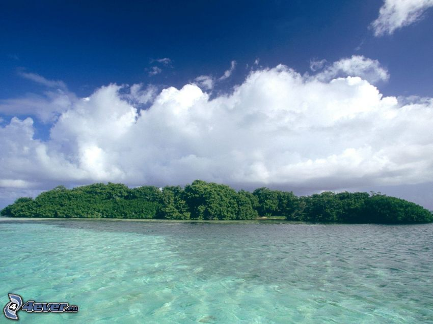island, forest, clouds, sea