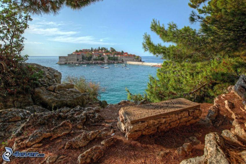 island, houses, sea, rocks, HDR