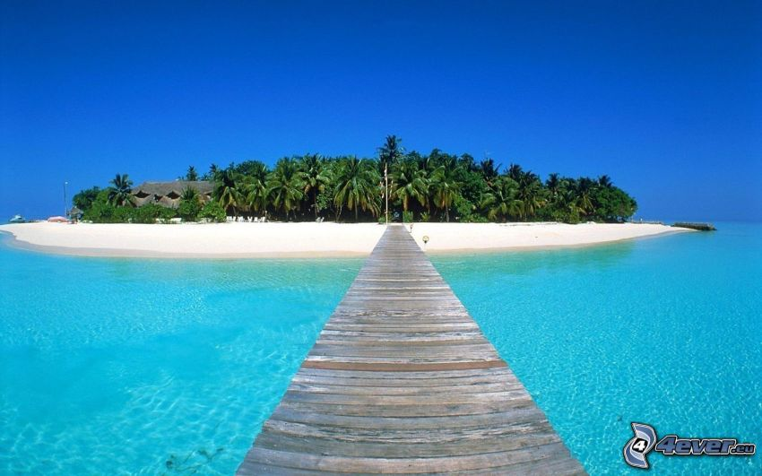 island, pier, azure sea