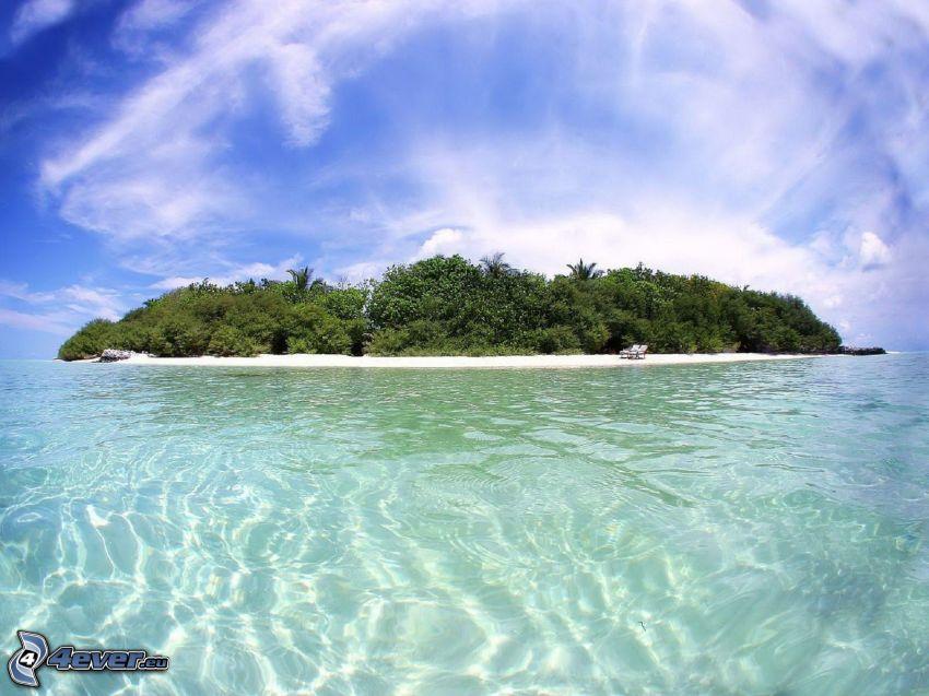island, shallow azure sea