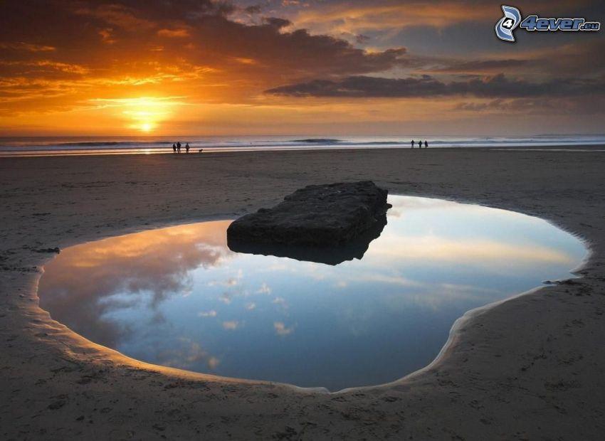 lake, sandy beach, sunset at sea, clouds