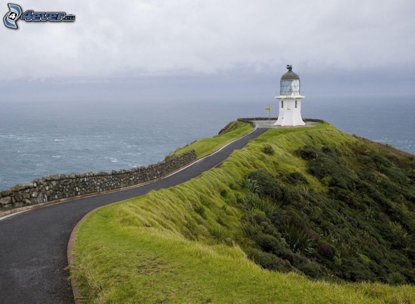 lighthouse, road, sea