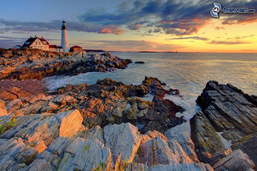 lighthouse, rocky shores, sea, evening sky