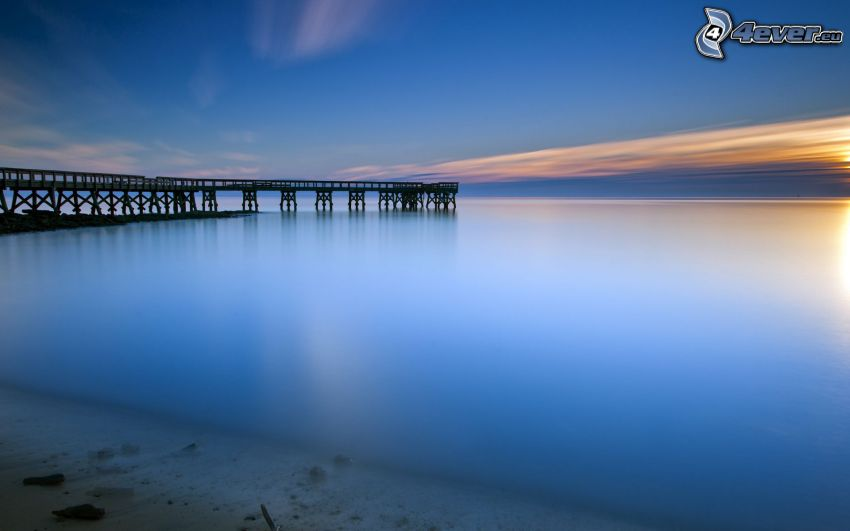 open sea, after sunset, pier